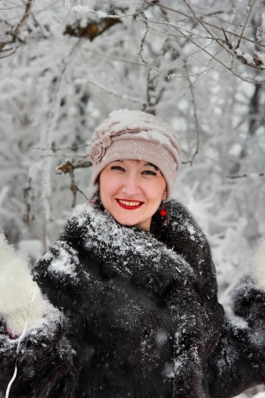 Winter portrait of a smiling girl