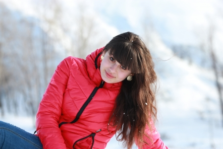 Beautiful long-haired girl, outdoor recreation