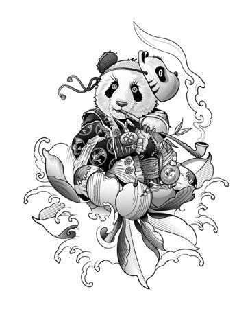 panda kung fu smokes a big pipe and thinks about life