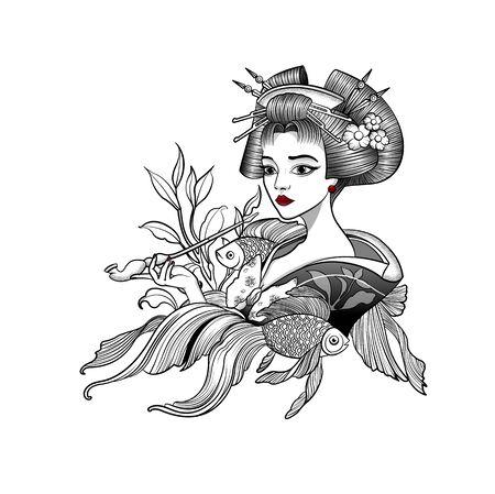 geisha smokes a pipe and dreams among fish