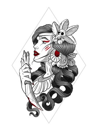 Mysterious woman. Vector hand drawn llustration