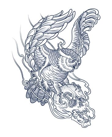 owl tattoo with human skull in claws Illustration