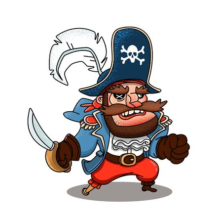Angry cartoon pirate. Vector clip art illustration with simple gradients. All in a single layer. Vettoriali