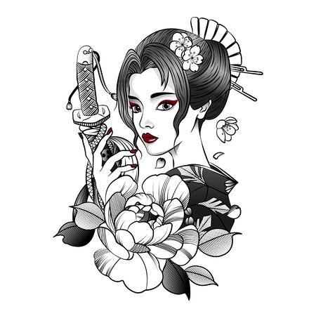 Japanese geisha with gets a katana Illustration