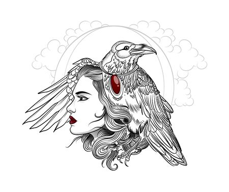 Valkyrie woman with scary raven