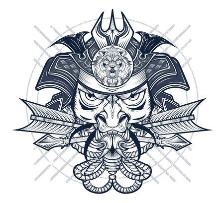 Savage red samurai's army artwork illustration