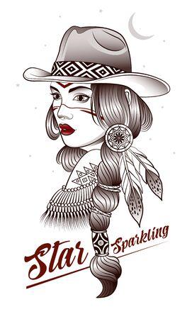 shaman girl named sparkling star,indian, boho