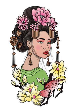 geisha among blooming flowers, ar