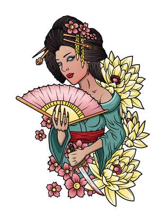 beautiful japanese geisha with a katana in hand
