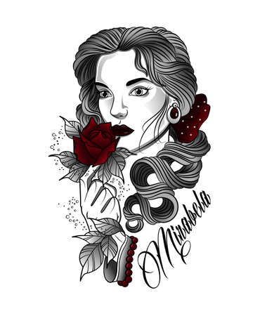 tattoo of a woman with a rose in her hand