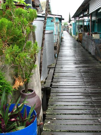Wooden sidewalk of a village