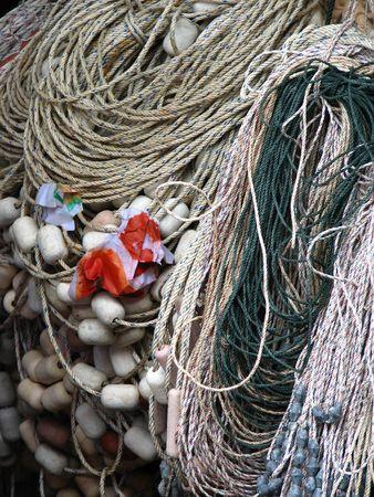 Fisherman boat ropes and buoy