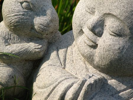 Lil buddha and the rabbit Stock Photo