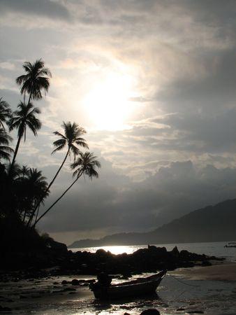 Silhouette shot at a beach