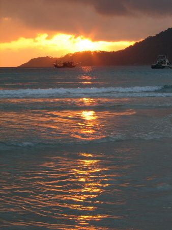 Sunrise at a beach Stock Photo