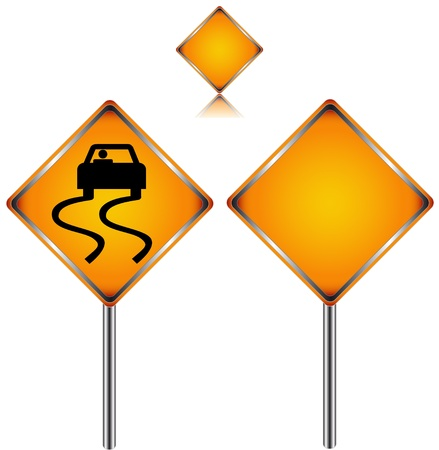 Three traffic signs in different variants on a white background Illustration