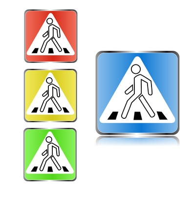 Four signs on a pedestrian crossing on a white background Stock Vector - 12291466