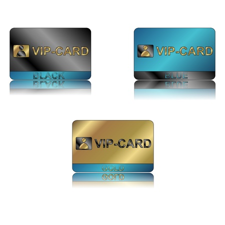 Three vip cards on a white background