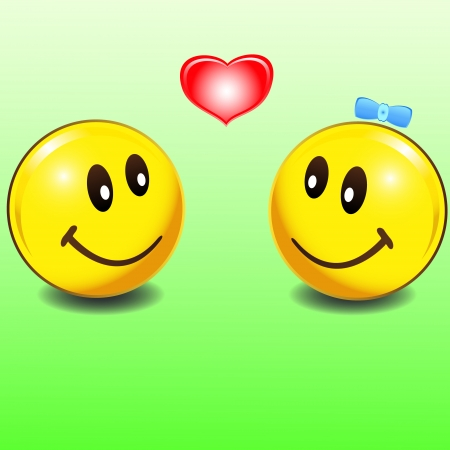 Two smiles loving each other on a green background Vector