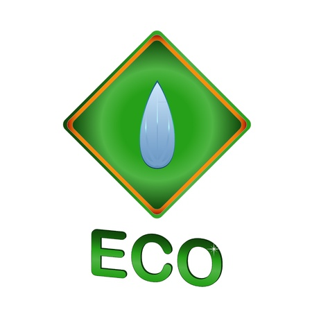 Eco symbol located on a blue background Stock Vector - 12291471