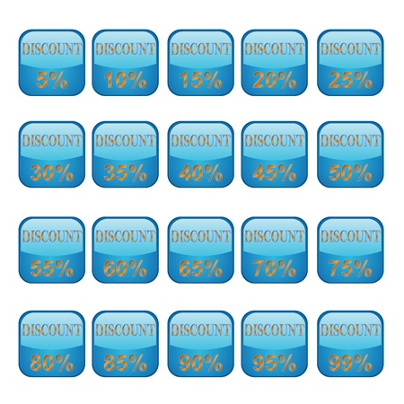 Twenty blue buttons of a discount on a white background Stock Vector - 12291554