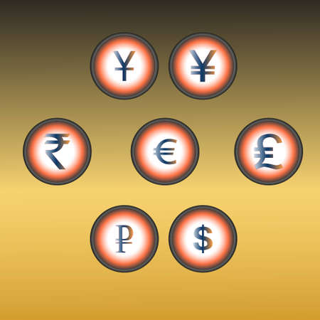 Six buttons with various signs on money Stock Vector - 12486928