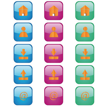 Five groups a web of buttons located on a white background Vector