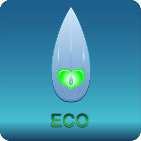 Eco symbol located on a blue background Vector