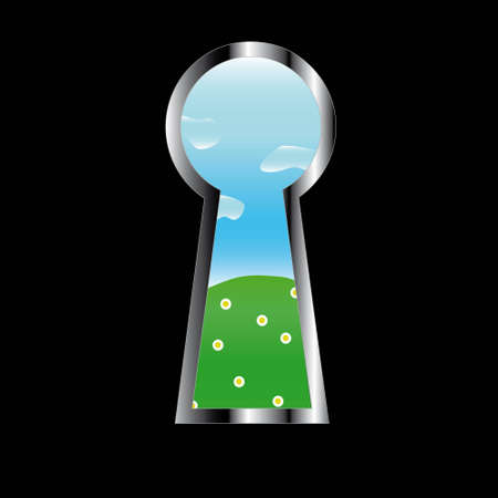 Door eye showing other world with a lawn and the sky Stock Vector - 12486926
