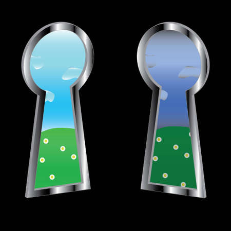 Two conditions of day in keyholes Stock Vector - 12682203