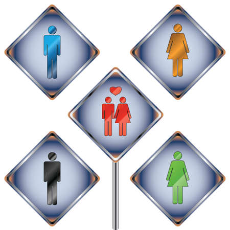 Five different signs on men and women Stock Vector - 12682181