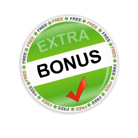 Green bonus symbol located on a white background Çizim