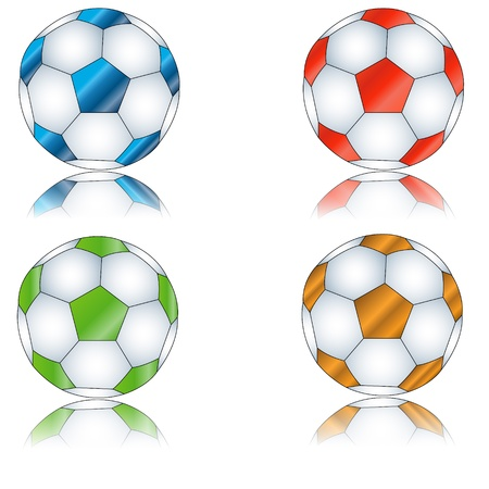 Four multi-colored footballs on a white background