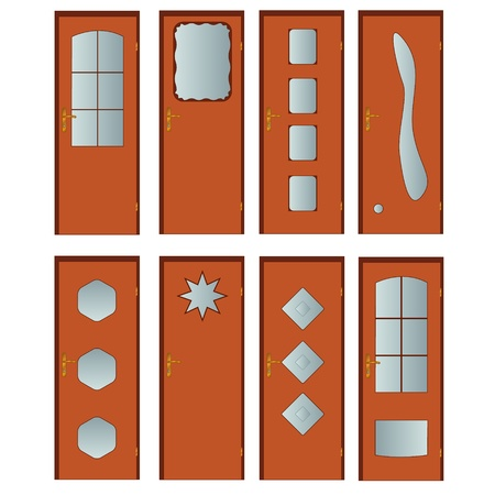 hall: Eight different styles of doors on a white background