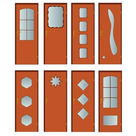 puertas de cristal: Ocho estilos diferentes de puertas sobre un fondo blanco Vectores