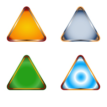 note of exclamation: Four multi-colored signs on a white background Illustration