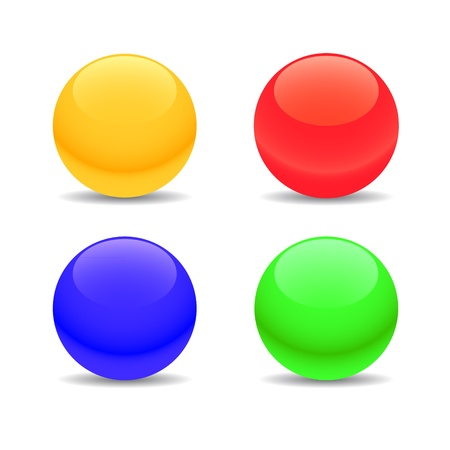 Four multi-colored spheres on a white background