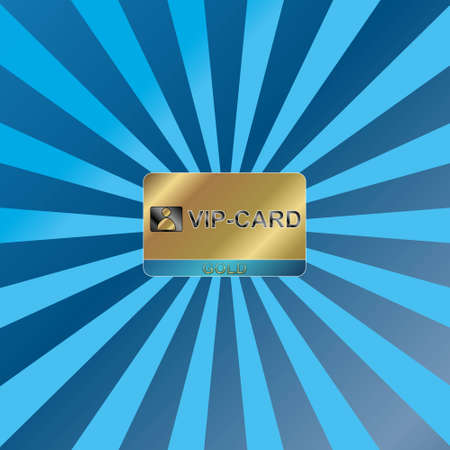 Gold vip card on a unique dark blue background Vector