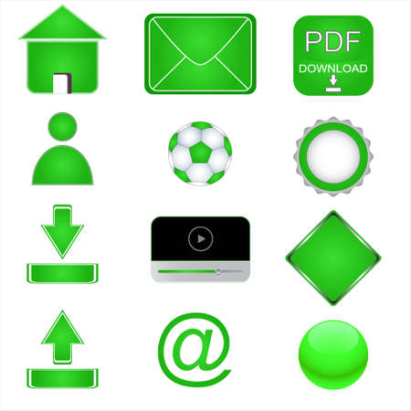 Green web icons on a white background Stock Vector - 12682221