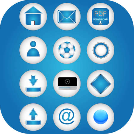 programme: Los iconos azules web sobre un fondo blanco Vectores