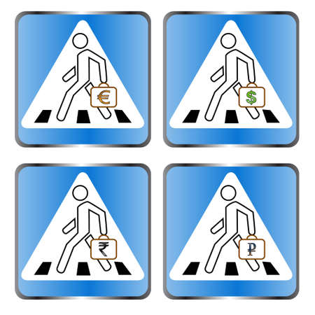 Four signs on a pedestrian crossing on a white background Stock Vector - 12682226