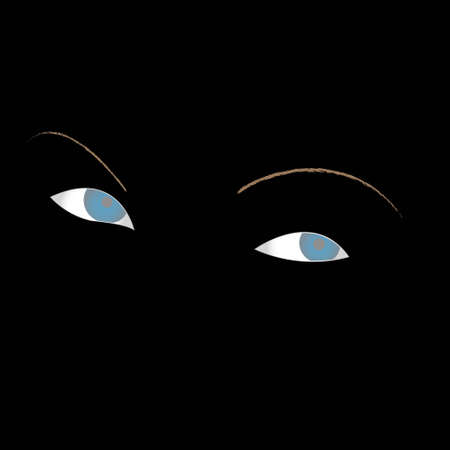 prudence: Blue eyes with eyebrows on a black background Illustration