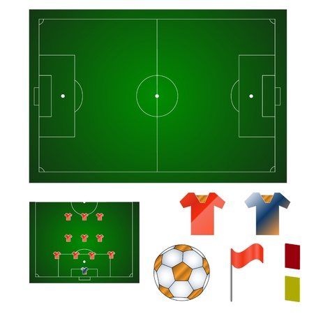 Set of various subjects in football style