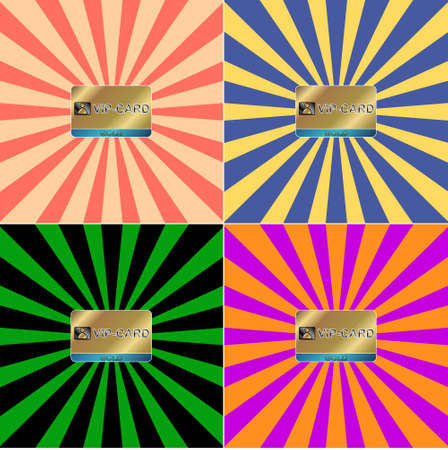 Four gold cards on four multi-colored backgrounds Vector