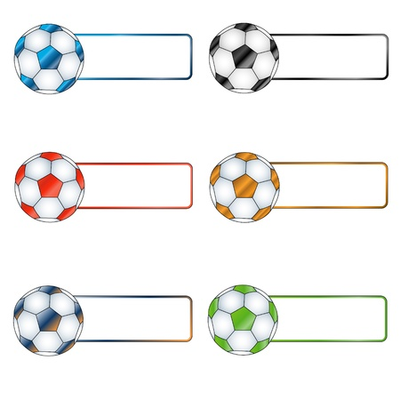 Six multi-colored balls with white labels for the text Vector
