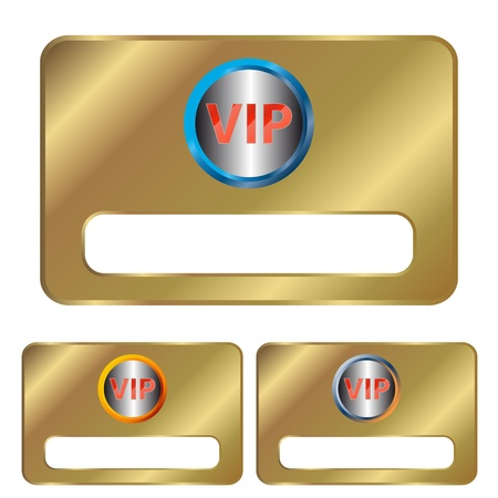 Three gold vip cards on a white background Vector