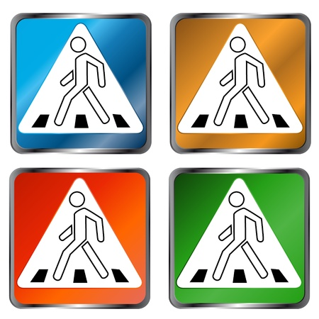Four signs on a pedestrian crossing on a white background Vector