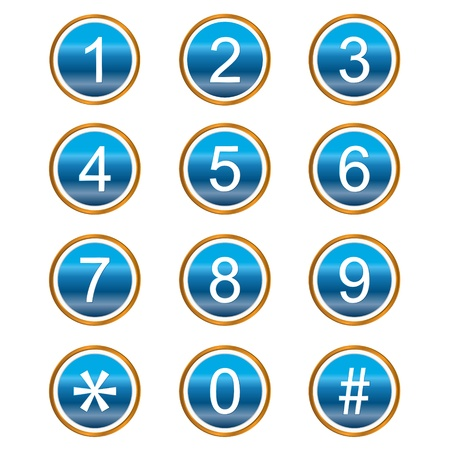 Numbers web icons on a white background Çizim