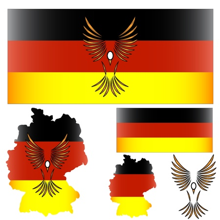 German flag and symbol of a bird and other elements Stock Vector - 12889792