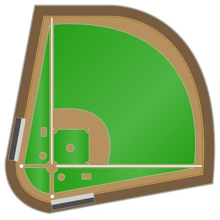 catcher baseball: Le sch�ma d'un terrain de baseball sur un fond blanc